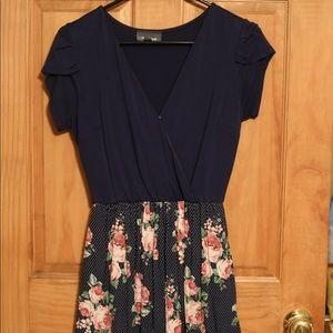 ModCloth blue fringe sleeve w/ flower print dress.